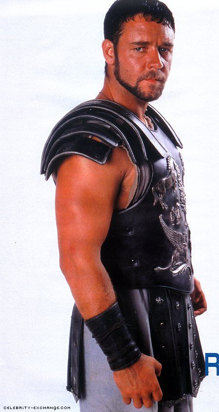 Russell Crowe Gladiator - hottest man in a skirt to ever be on film hot