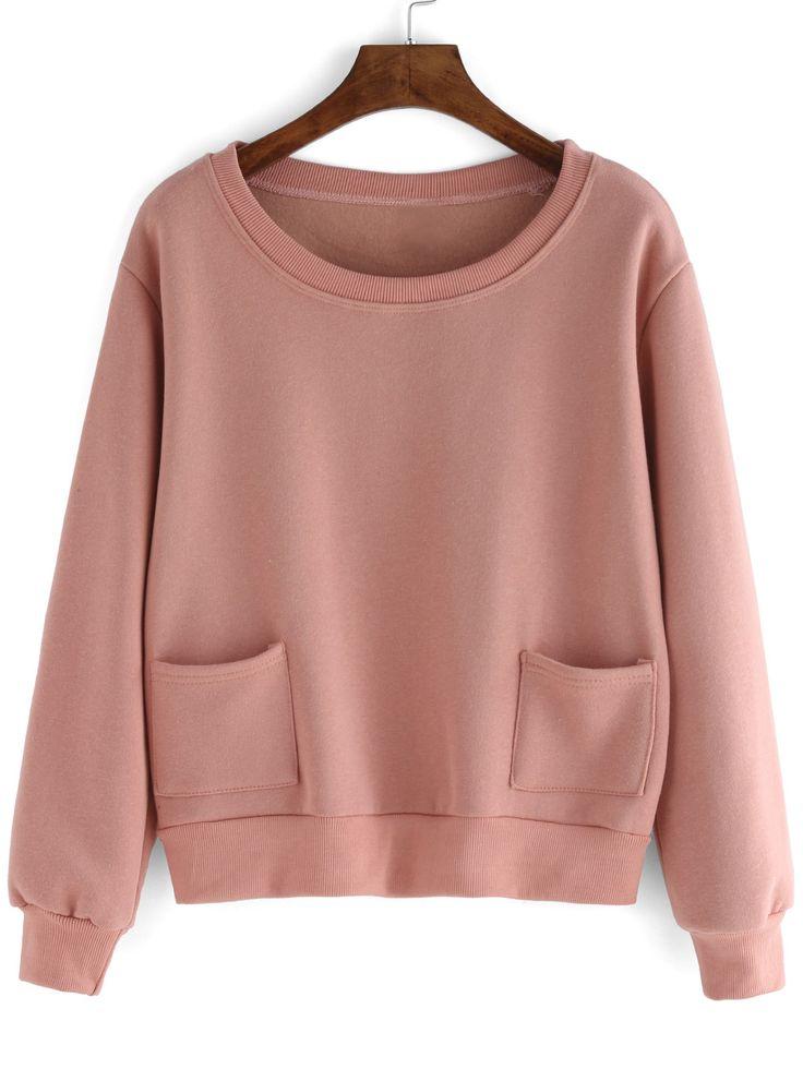 Pink Round Neck Pockets Crop Sweatshirt - shein.com