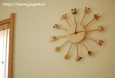 wooden animal clock- pinned by http://www.auntbucky.com  #clock #midCentury #kids