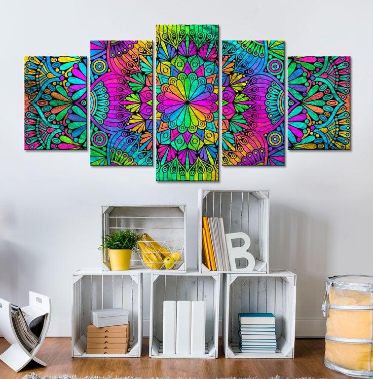 """Cuadro moderno """"Mandala: Peacock Feathers"""" para todos que buscan su paz interior. Además sus colores intensos alegrarán cada habitación ☼"""