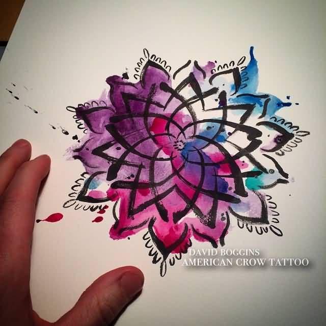 Watercolor Brilliant Mandala Flower Tattoo Stencil
