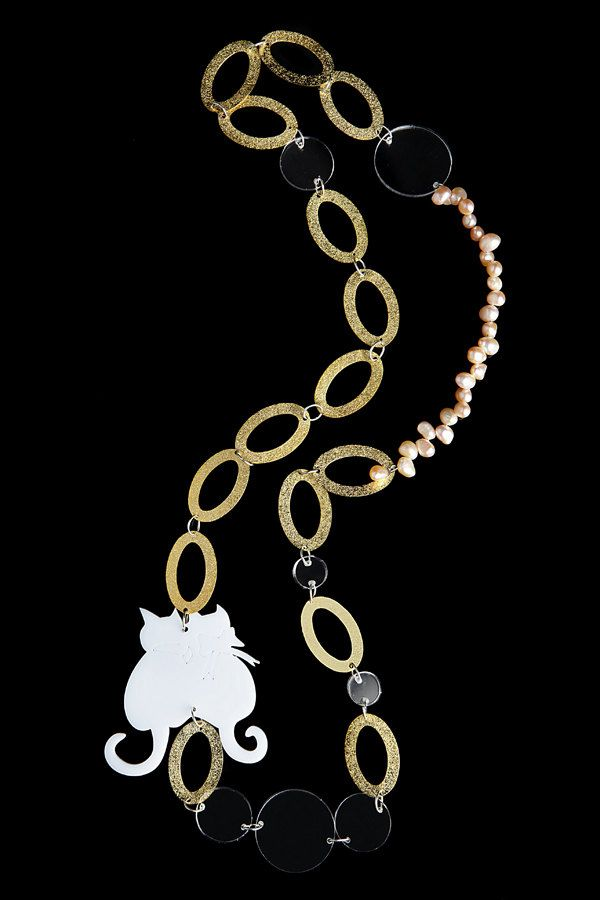 wedding necklace,long cat white necklace, gold plated necklace, st. valentines, plexiglass necklace, cat plexiglass necklace by ninouninou on Etsy