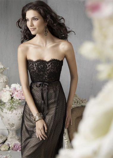 Embroider Lacing Empire Waist Knee Length Chiffon Unique Strapless Bridesmaid Dress