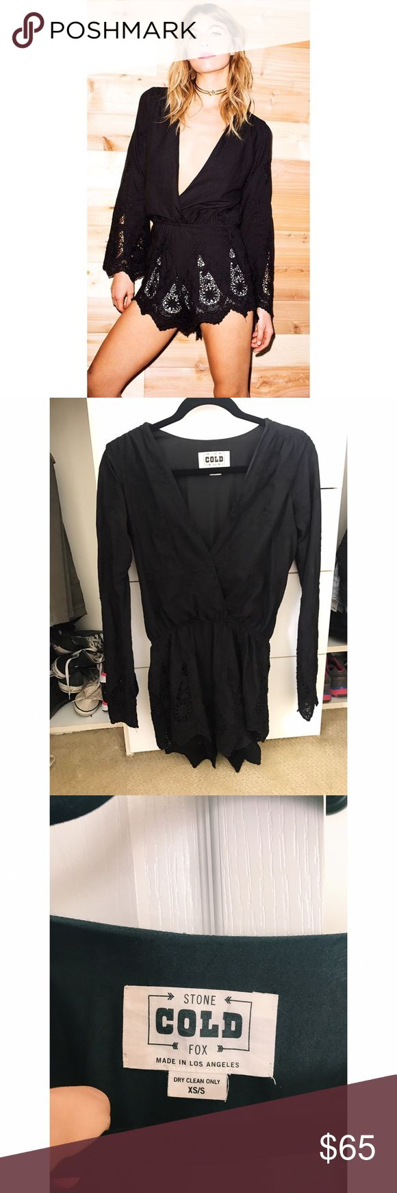 BNWOT STONE COLD FOX LOCALS JUMPER IN BLACK Size xs/s. bought for final sale directly off stone cold fox website but is too small on me and wasn't able to return it. Very form fitting and can be dressed up or down, crotchet detailing throughout romper, beautiful design Stone Cold Fox Pants Jumpsuits & Rompers