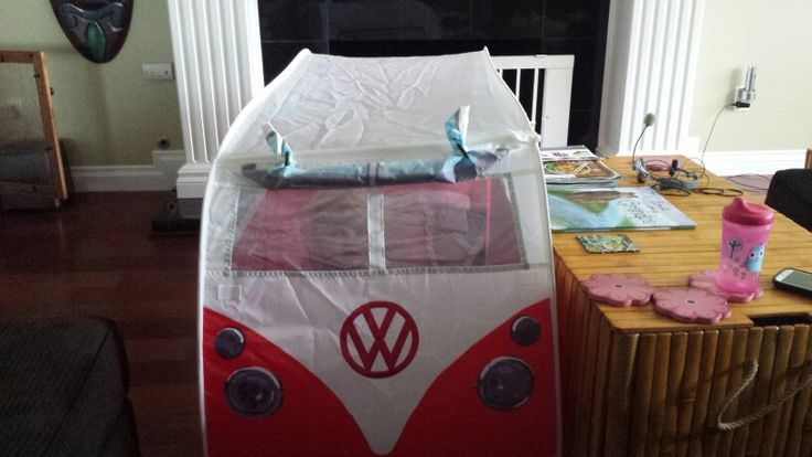 Our bus tent for our Chihuahua and granddaughter