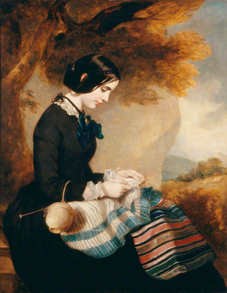 Mary Isabella Grant (d.1854), Knitting a Shawl c.1850–1855 Francis Grant (1803–1878) << #knitting #portrait #art
