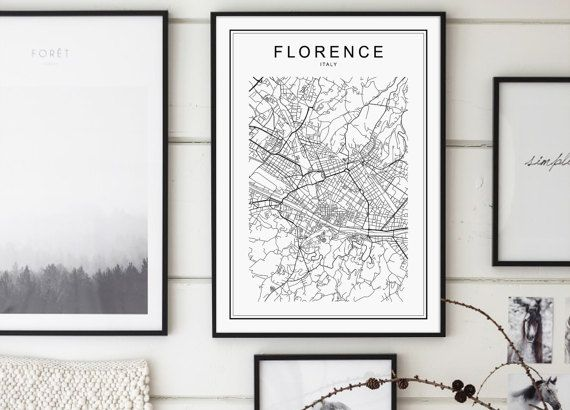 Florence Map Print Florence City Mappa by GalaDigitalPrints