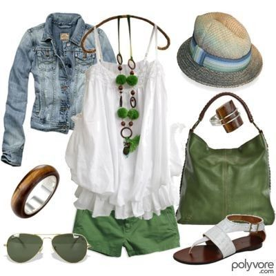 Love the green necklace.....the hat says it all.......summer outfit!!!!: Hats, Summer Day, Style, Jeans Jackets, Color, Cute Summer Outfit, Summer Fun, Green Shorts, White Tops