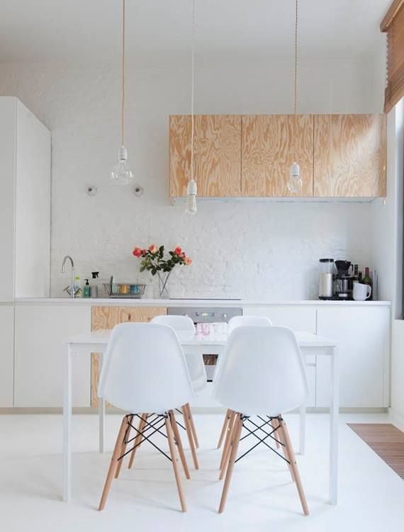 Plywood cabinets paired with high gloss...very cool