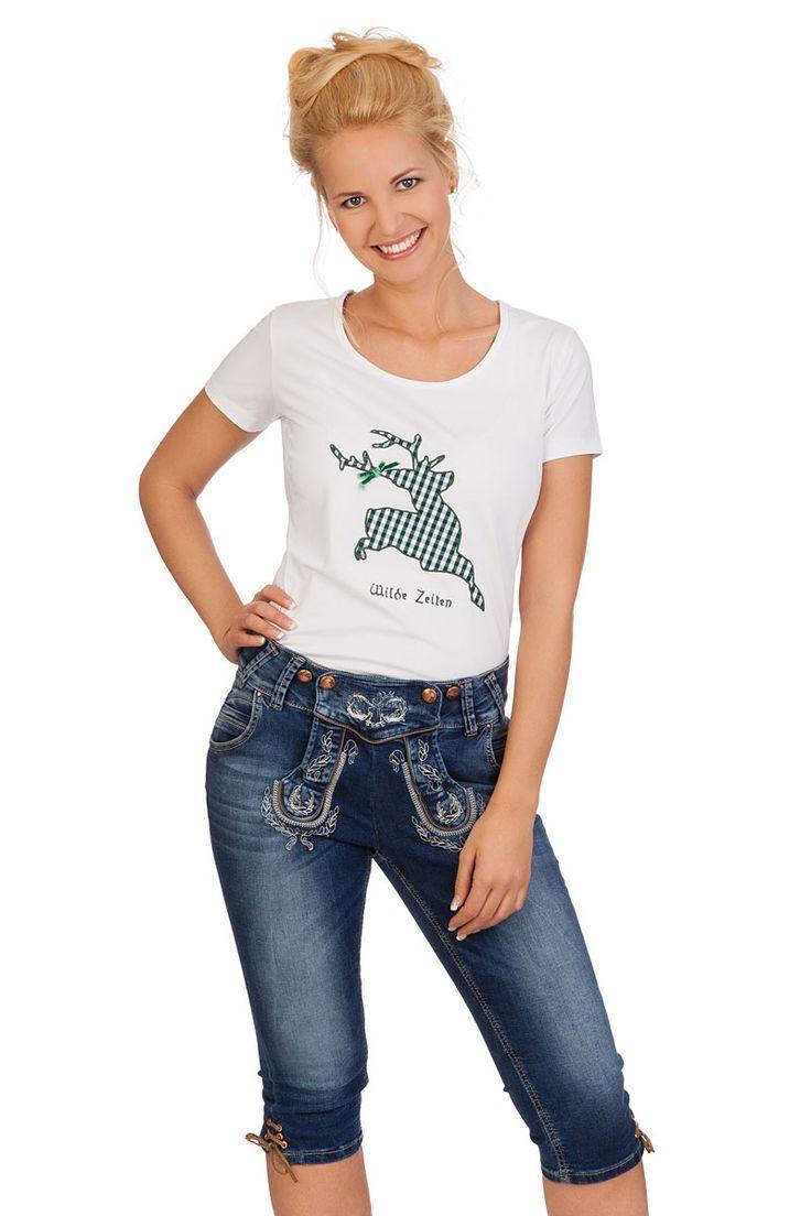 weitere Produktabbildung MarJo Leder & Tracht Trachten Damen Kniebundhose Jeans - STEFANIE - blau