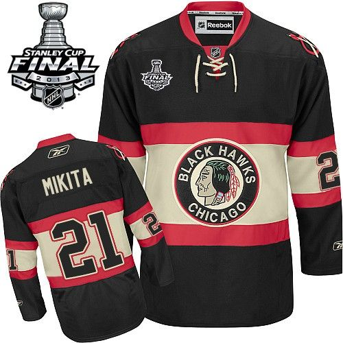 authentic keith magnuson black mens nhl jersey chicago blackhawks reebok new third stanley cup final