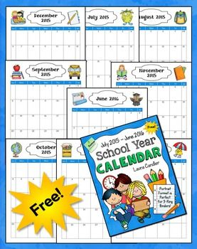 Free school year calendar (2015/2016) - I needed this!
