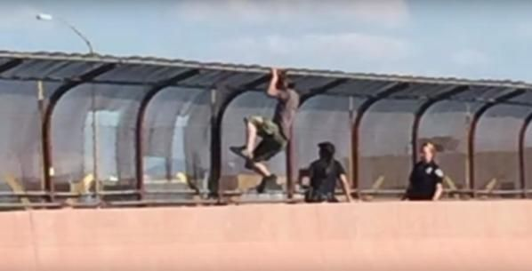New Mexico, Albuquerque. At an overpass, all traffic is blocked and drivers only see a policewoman sitting by the fence. When they've got closer, only then they see the shocking truth. It was a real drama which showed us the true police officer duties. source A policewoman was trying to convince a man not to jump off from the overpass to end his life. Several police officers were mobilized to the ...