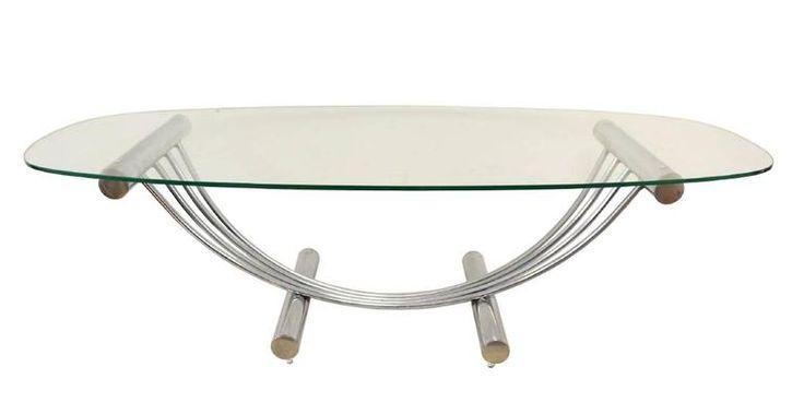 Mid-Century Modern Tubular Chrome Oval Glass Coffee Table with Center Piece 2