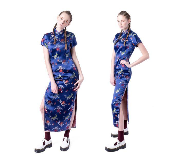 Chinesische Kleidung CHEONGSAM Maxi blau von BetterStayTogether