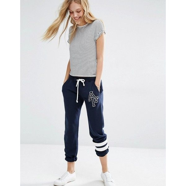 Abercrombie & Fitch Drawstring Sweatpant with Logo (116 CAD) ❤ liked on Polyvore featuring activewear, activewear pants, navy, logo sweatpants, cotton sweat pants, tall sweat pants, navy sweatpants and tall sweatpants