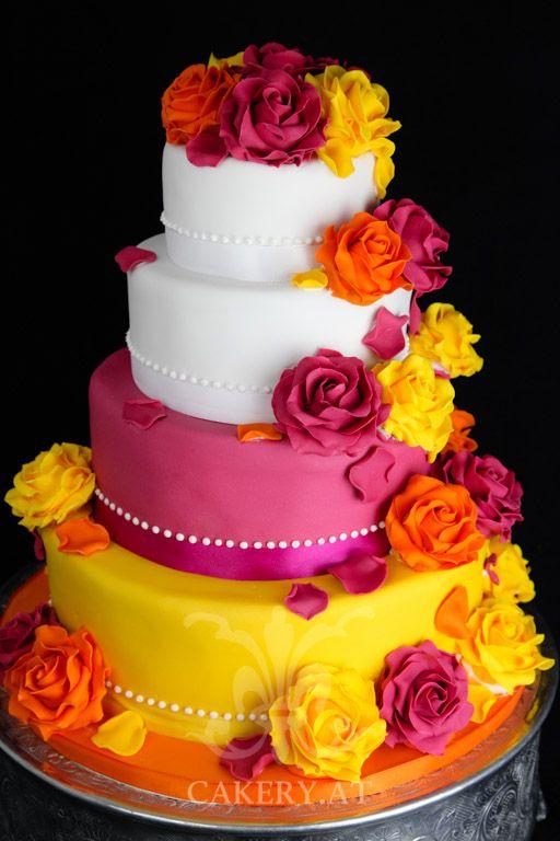 Hochzeitstorte - Crayola wedding cake. Bright yellow, fushia, white. Austria