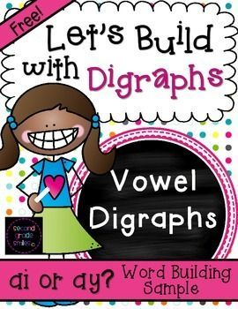 16 FREE word building mats to help your students practice spelling words with long a vowel digraphs ai and ay. Perfect for a word work center in first or 2nd grade!