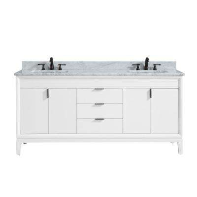 Emma 73 In W X 22 In D X 35 In H Bath Vanity In White With Marble Vanity Top In Carrara White With Basi Vanity Combos Marble Vanity Tops Granite Vanity Tops