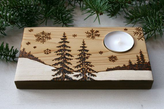 Winter Wonderland Wood Candle Holder Rustic por TwigsandBlossoms