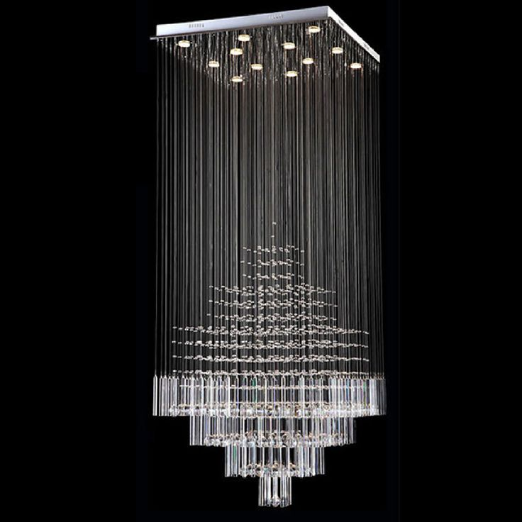 BYBR Modern Chandelier Rain Drop Lighting Square Crystal