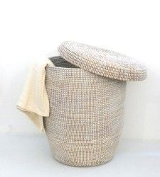 I love this woven hamper from Brook Farm General Store. It would look great in a navy bathroom or bedroom.