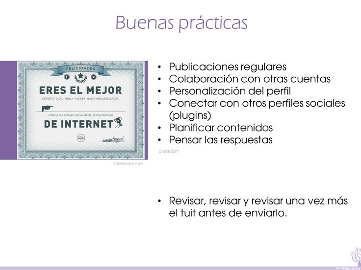 16  Más información: http://bitelia.com/2013/07/consejos-para-twitter?utm_source=buffer&utm_campaign=Buffer&utm_content=buffer4b931&utm_medium=twitter Un poco de humor: http://www.40defiebre.com/guia-rapida-guru-twitter/?utm_source=rss