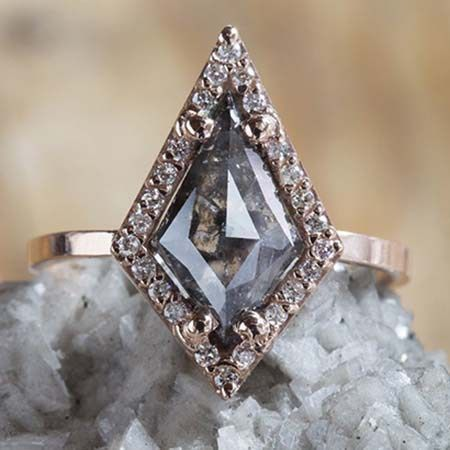 Engagement Rings | Unique Black Diamond Engagement Ring - Natural Rose Cut Black Geometric Diamond Ring with Pavé Halo by Alexis Russell
