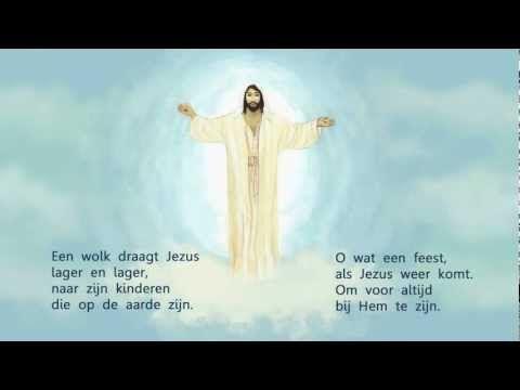 Hemelvaart, lied, een wolk brengt Jezus hoger en hoger