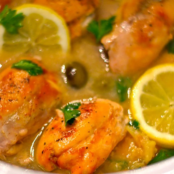 Slow Cooker Lemon Chicken. Mike liked this the most. Maybe replace the olives with something else.