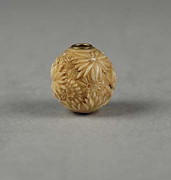 Carved bead Date: 19th century Culture: Japan Medium: Ivory Dimensions: H. 1/2 in. (1.2 cm); W. 1/2 in. (1.2 cm)