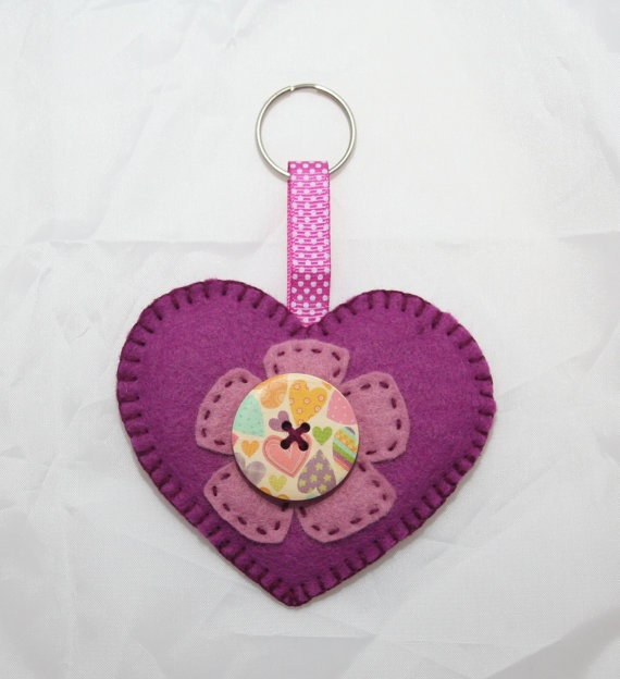 Heart Felt Keyring or Bag Charm by OrchardStitches on Etsy, £2.50