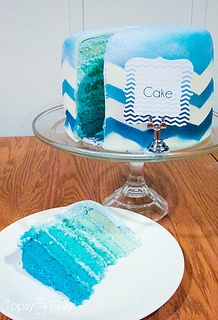 Blue Chevron Birthday Cake... Make into cupcakes and different colors