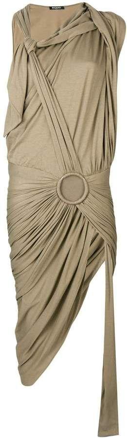 Balmain draped sarong maxi dress