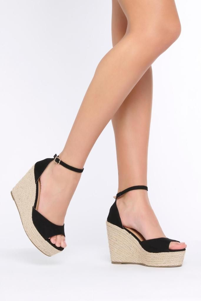 a92f823d4ace Black Peep Toe Wedge With Ankle Strap