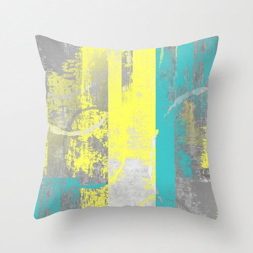 Decorative Living Room Pillow Covers : Abstract Pillow Cover Teal Yellow Grey Modern Home Decor Living room bedroom accessories Cushion ...