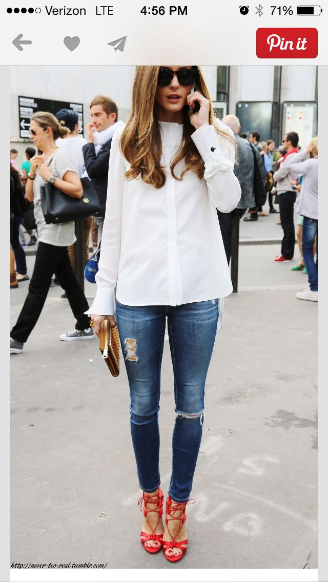 skinny blue jeans with stripy heels