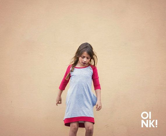 Vestido con manga tres cuartos para niñas en algodón natural