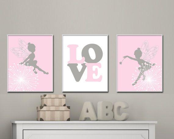 Fairy wall art Baby girls wall art Fairy nursery art suits pink and gray nursery decor Girls bedroom decor Set of 3 prints H183