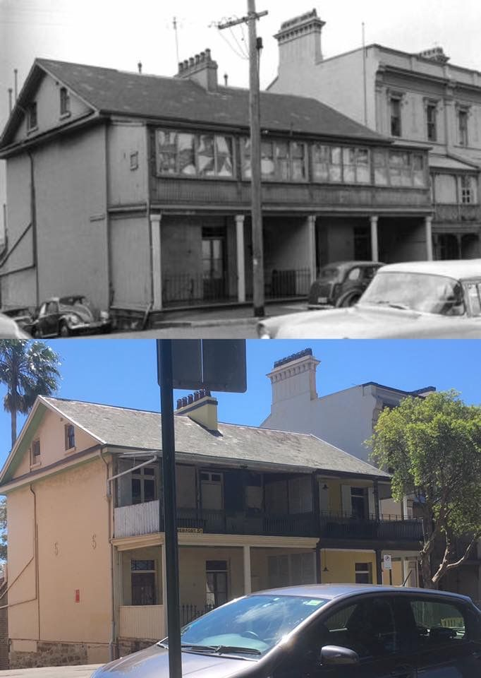 21-23 Lower Fort Street, Dawes Point in 1961 > 2016. [Sydney City Archives > Phil Harvey. By Phil Harvey]