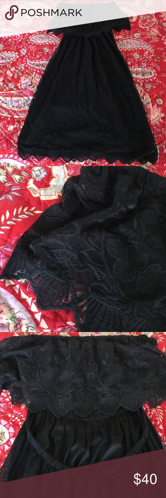 Strapless black lace dress Strapless and open back.  Black lace dress from Express.  So easy to wear with heels, booties or sandals.  Cute with leather jacket or jean jacket.  Was worn once. Express Dresses Strapless