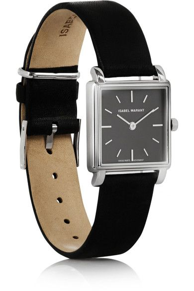 Black leather (Calf), stainless steel  Buckle fastening