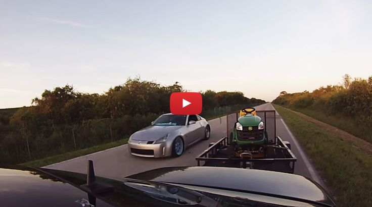 Nissan 350z gets STOMPED by Mercedes AMG E55 towing a LAWNMOWER on a TRAILER!!
