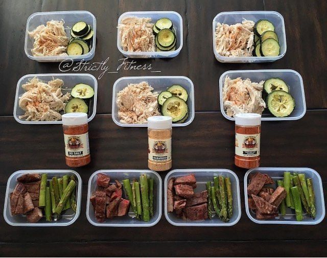Stay in control of what you eat by meal prepping. Through this you completely know what you are feeding your body. Check out how @strictly_fitness_ is killing it with this meal prep.  ------------------ Meal prep week 176 Quick Sunday meal prep!  @5280meat shredded chicken breast seasoned with @flavorgod No salt @5280meat BBQ sirloin steak seasoned with @flavorgod Sweet and Tangy Fresh from our garden zucchini  baked and seasoned with Habanero @flavorgod &  Baked asparagus seasoned with…