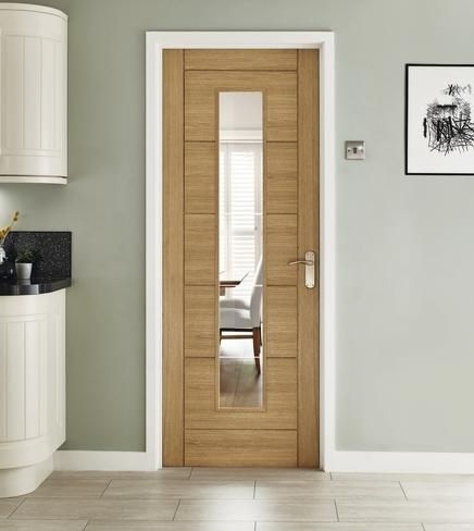 Superior Linear Oak Glazed Door For Kitchen.