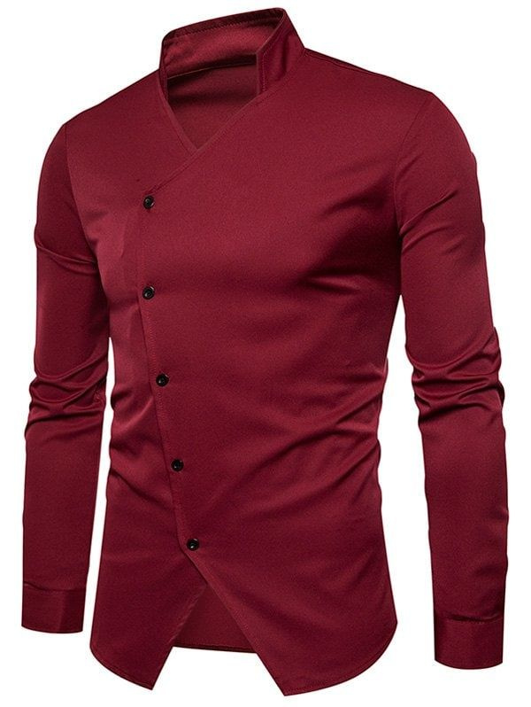 688ca426596 Stand Collar Oblique Button Design Shirt - WINE RED S | Man style in ...