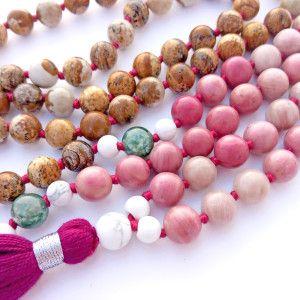 rhodonite picture jasper mala beads