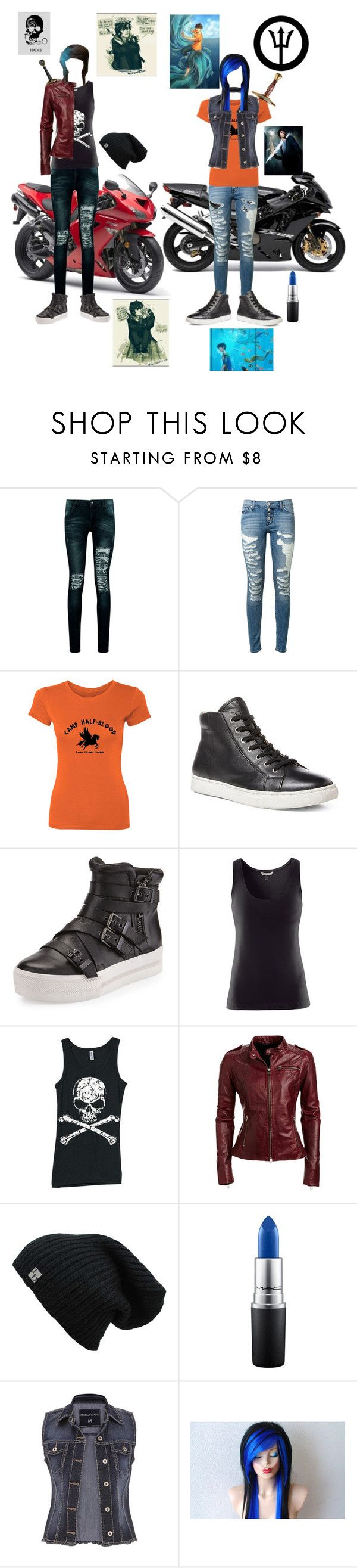 """""""Lea di Anglo and cara Jackson"""" by ironkyle ❤ liked on Polyvore featuring Kawasaki, Boohoo, Hudson, Ralph Lauren, Ash, H&M, Danier, MAC Cosmetics and maurices"""