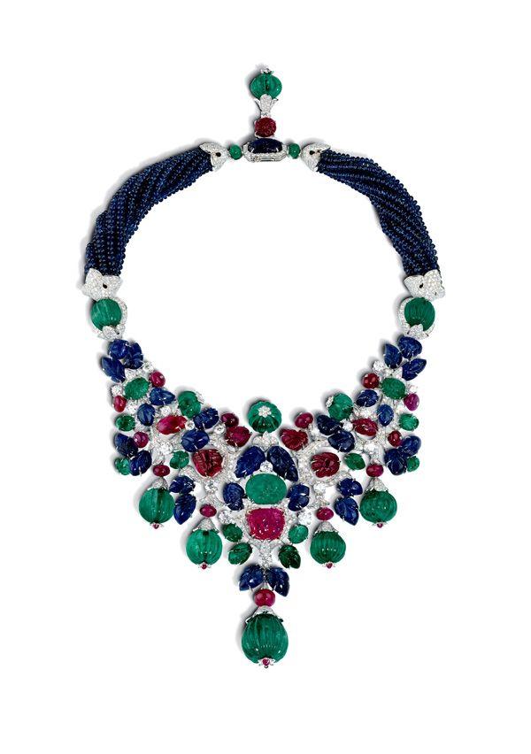 Cartier diamond, emerald, ruby and sapphire tutti frutti necklace