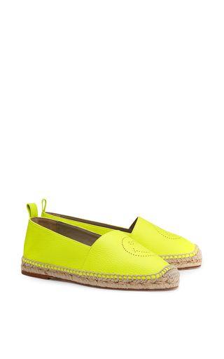 Medium anya hindmarch yellow espadrilles smiley in neon yellow tumbled calf